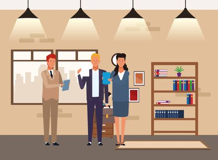 cartoon businessmen and businesswoman standing and showing documents at office, colorful design. vector illustration