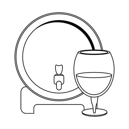 wine wooden barrel dispenser and glass of wine over white background, vector illustration