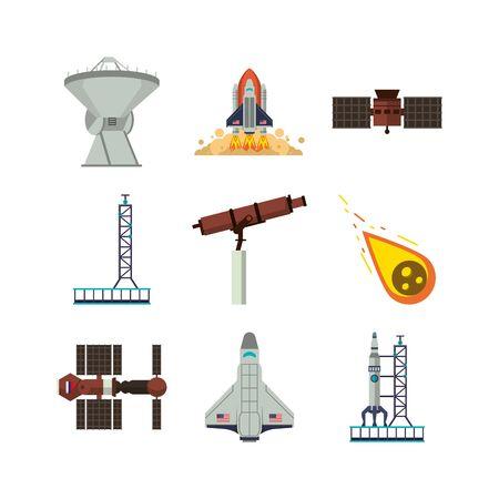 bundle of space set icons vector illustration design