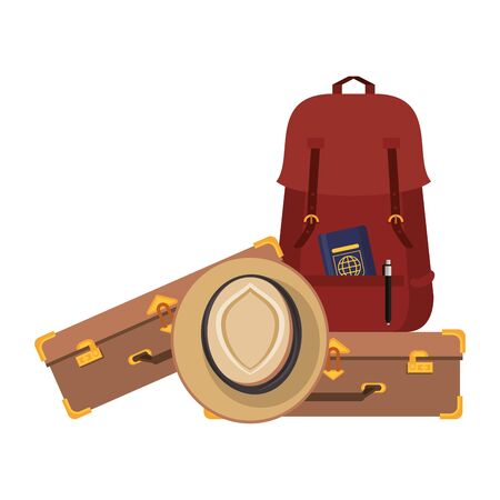 Travel vacations and summer backpack with luggage and hat cartoons 向量圖像