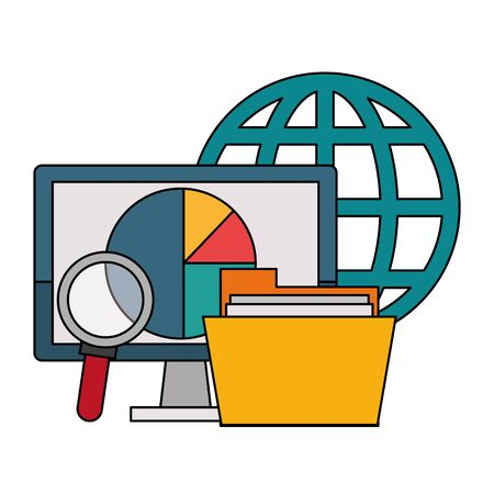 Office and business technology symbols computer and folder with magnifying glass and sphere global vector illustration graphic design