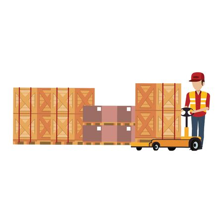 Warehouse worker pushing handtruck to boxes vector illustration