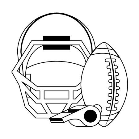 american football sport game, helmet with ball and whistle cartoon vector illustration graphic design Illustration
