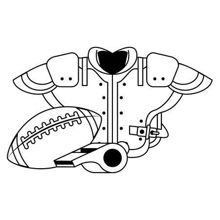 american football sport game competition equipment player uniform and coach objects cartoon vector illustration graphic design Ilustração