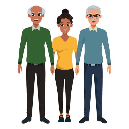 Family grandfathers with adultt afro granddaughter vector illustration graphic design
