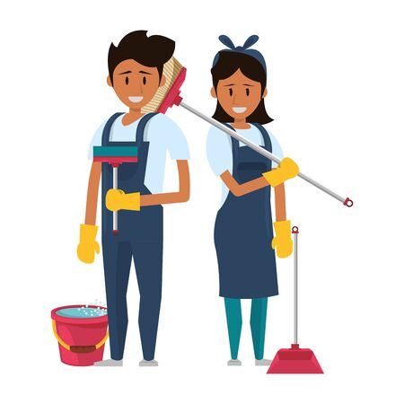 Cleaners workers smiling with cleaning broom and dustpan with water bucket vector illustration graphic design.