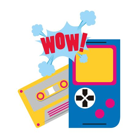 retro video game portable and cassette over white background, vector illustration Illusztráció