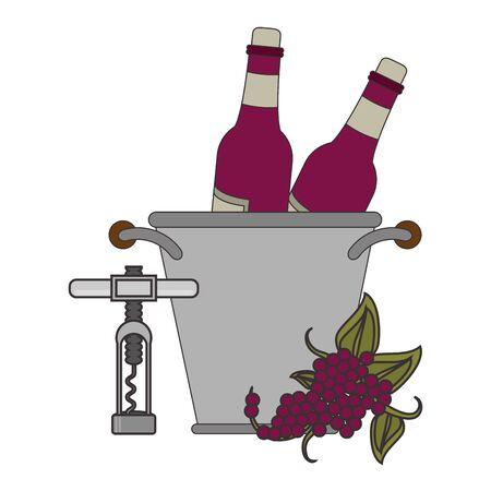 corkscrew and ice bucket with wine bottles over white background, vector illustration Illusztráció