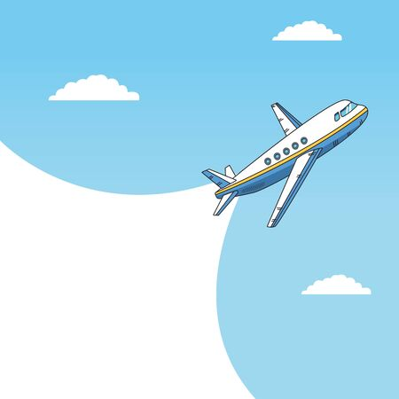 airplane flying travel isolated icon vector illustration design