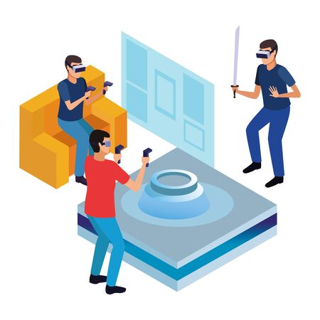 virtual reality technology, young men friends living a modern digital experience with headset glassesand joysticks with sword cartoon vector illustration graphic design