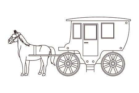 Antique horse carriage animal tractor in black and white vector illustration graphic design.