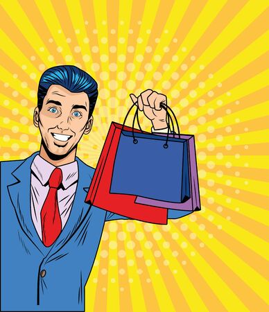 Man with shopping bag design, Commerce market store retail paying and buying theme Vector illustration Ilustração