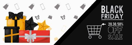 black friday sale poster with gifts and shopping cart vector illustration design Illusztráció