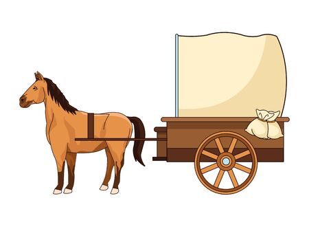 Antique horse carriage animal tractor vector illustration graphic design. 向量圖像