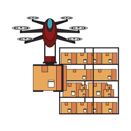 air drone remote control technology device delivery and logistic process with cardboard boxes in merchandise storage cartoon vector illustration graphic design Ilustração