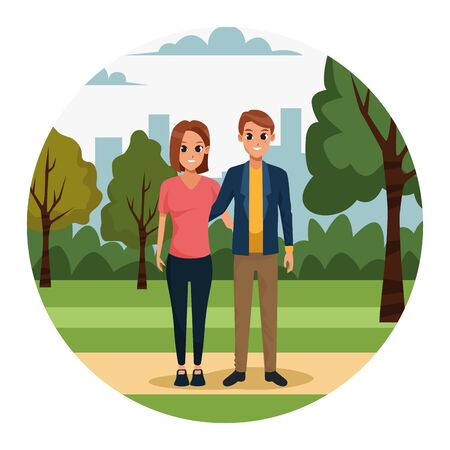 cartoon young couple in the park over white background, colorful design. vector illustration