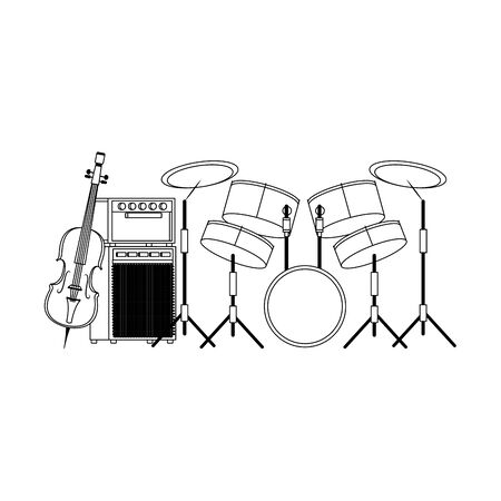 drums set and cello over white background, flat design. vector illustration Illustration