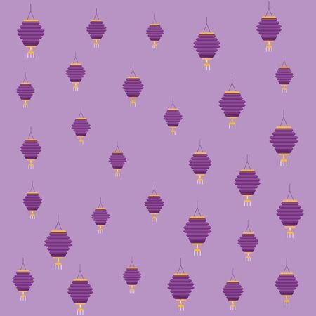 Chinese paper lantern purple background pattern ,vector illustration graphic design. Standard-Bild - 134893547
