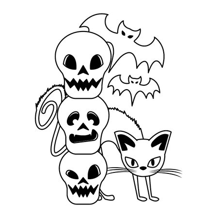 halloween october scary celebration, witch cat with skulls and bats cartoon vector illustration graphic design Ilustracja
