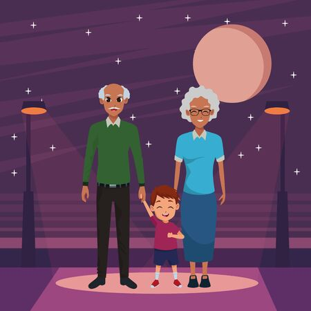 Family grandfather and grandmother with little grandson in the street at night ,vector illustration graphic design.