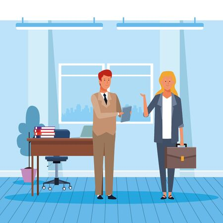 Business man and woman working in the office, colorful design. vector illustration 일러스트