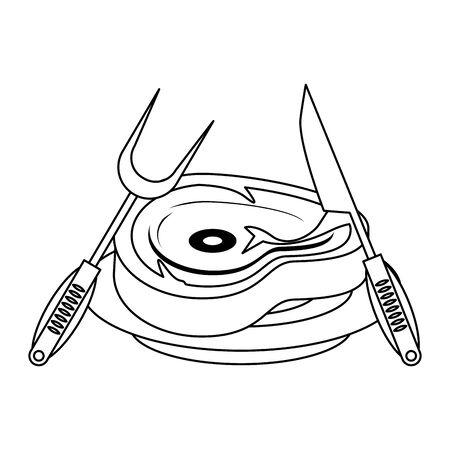 Barbecue food steak with fork and knife on dish vector illustration graphic design Illusztráció