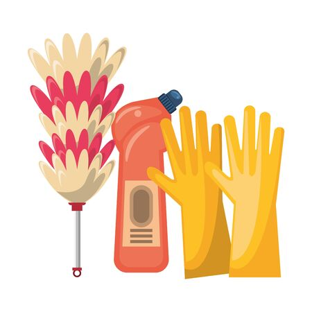 Cleaning equipment and products soap bottle and gloves with cobweb brush vector illustration graphic design.