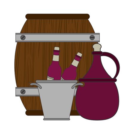 ice bucket with wine bottles and wooden barrel over white background, colorful design. vector illustration Stock Illustratie
