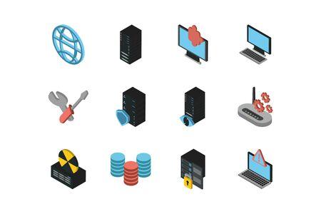 bundle of data server set icons vector illustration design