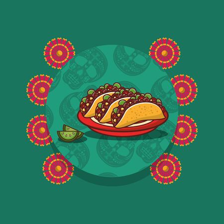 delicious tacos mexican food with lemon and flowers vector illustration design