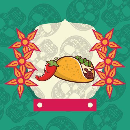 delicious taco mexican food with skulls heads pattern vector illustration design Illusztráció