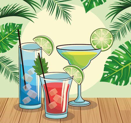 tropical cocktails over tropical leaves and retro style background, colorful design , vector illustration Illusztráció