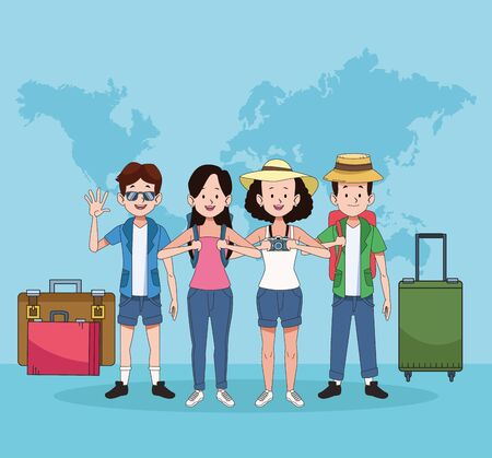group of tourist people with world maps and suitcases vector illustration design 向量圖像