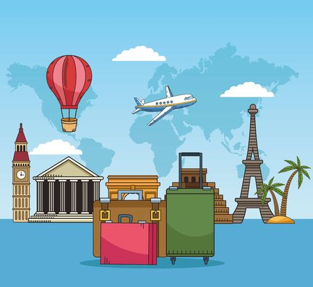travel around the world with suitcases and famous places vector illustration design