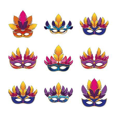 Conjunto de iconos de máscaras de carnaval con plumas sobre fondo blanco, ilustración vectorial