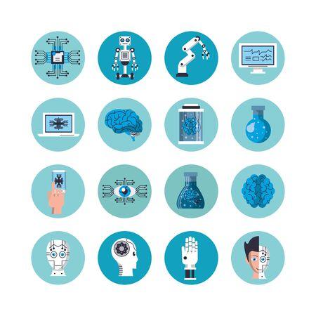 bundle of artificial intelligence icons vector illustration design