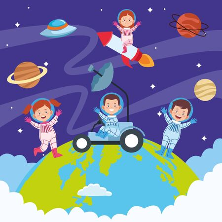 happy children day celebration with kids in the space vector illustration design
