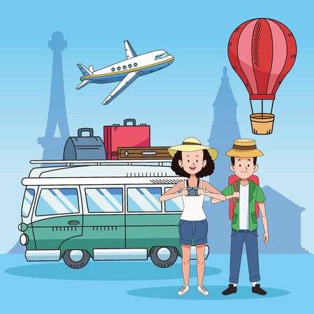 tourist couple with famous places and van vector illustration design
