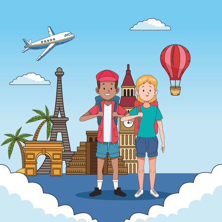 tourist couple with famous places characters vector illustration design