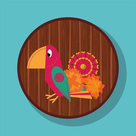 cute parrot mexican culture icon vector illustration design Ilustracja