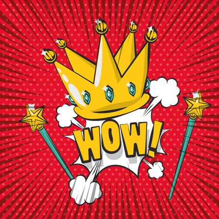 poster pop art style with crown and wand vector illustration design Ilustrace