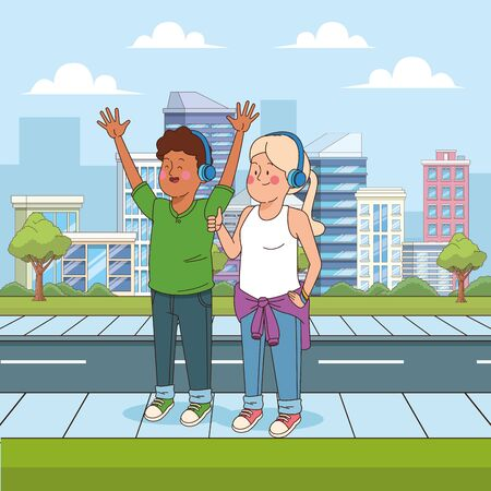 cartoon teen boy and girl with headphones and waving in the street, urban cityscape scenery background, colorful design vector illustration 向量圖像