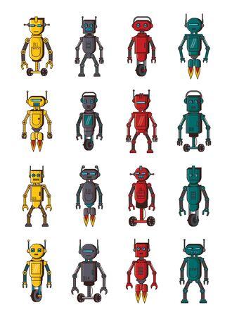 bundle of robots technology set icons vector illustration design Illusztráció