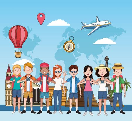 group of tourist people with famous places vector illustration design