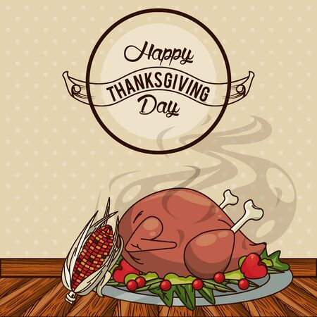 happy thanksgiving day card with turkey cooking vector illustration design Reklamní fotografie - 134901349