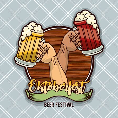 Oktoberfest Celebration poster design with beer and hand cheers, vector illustration