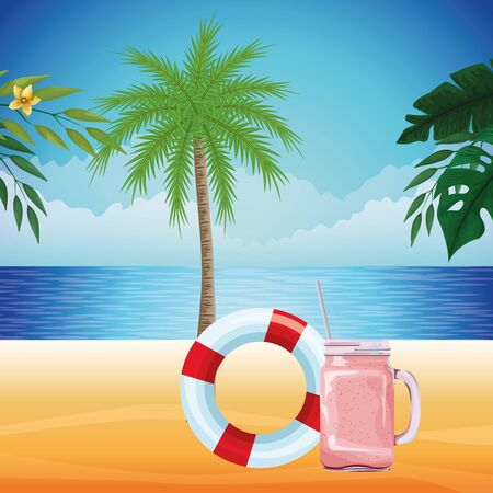 summer beach and vacation with lifebuoy, palm and smoothie drink icon cartoon over the beach with seascape vector illustration graphic design