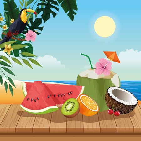 Summer tropical fruits and coconut cocktail on wooden floor, beach scenery. vector illustration graphic design