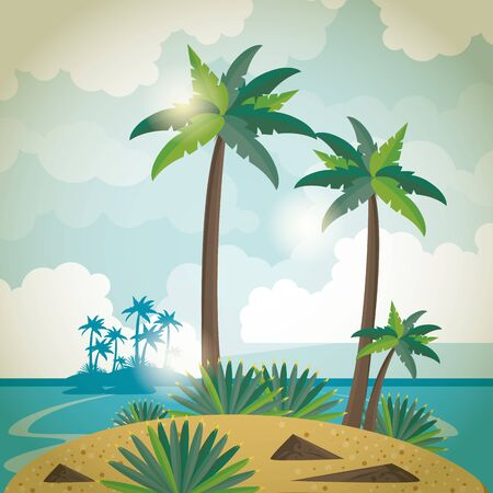 Summer island with palms trees and sea brightly scenery cartoons vector illustration Illustration