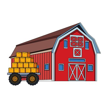 wooden farm barn and bales of hay load icon over white background, colorful design. vector illustration